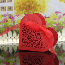 20x Rose Hollow Wedding Favor Candy Treat Gift Box Wrap Case w/ Ribbon Red