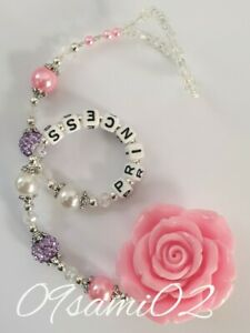 Personalised Bling Dummy Clip Rose Shamballa & Crystal Pink/lilac❤❤ Stunning