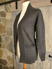 Cielo Women's Solid Basic Open Front Pockets Knit Sweater Cardigan Gray Size XL