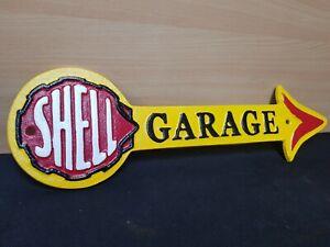 "** SHELL GARAGE **16"" VINTAGE STYLE CAST IRON SIGN RETRO MOTORSPORTS MAN CAVE"