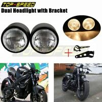 Motorcycle Dual H4 Headlight + Bracket Dominator Tracker Streetfighter Universal