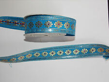 30mm blue gold  jacquard embroidered ribbon applique motif trimming decor