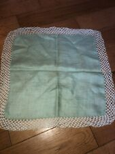 Light Mint Green Crocheted White Vintage Great Cond Solid Handkerchief