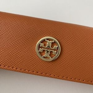 Tory Burch Saffiano Leather Orange Eyeglasses Reading Glasses Case Gold Logo