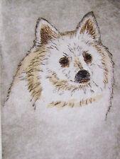 Geoffrey Lasko - American Eskimo Dog - Hand Colored Etching - S&N - Free Ship