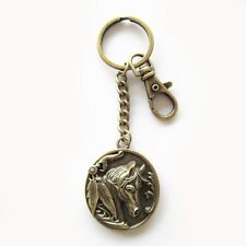 Western Jewelry Antiqued Brass Horse Head Key Ring W/Clip