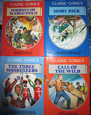 Classic Comics 4 Books HB VF 1990 Orig from Spain Moby Dick Musketeers Marco