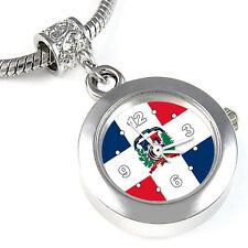 Dominican Republic Flag Silver European Charm Bead Watch For Bracelet EBA251