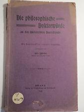 Les philosophique doctorat dans les Universités de l'Allemagne - 1908