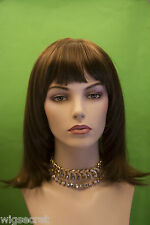 Long Medium Light Chestnut Brown Straight Wig Bangs