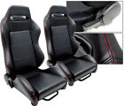 New 2 X Black Leather Red Stitch Racing Seats For Ford Mustang New