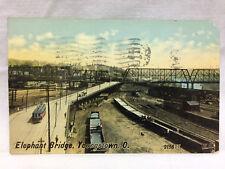 Vtg Postcard Elephant Bridge Scene Youngstown Ohio 1915 OH Valentine Souvenir