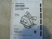 Sears Craftsman Owners Manual 7 1/4 ' Model No.315.108320