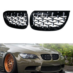 Chrome Black Front Kidney Grill Diamond Style fit for 2007-10 BMW E92 E93 Coupe