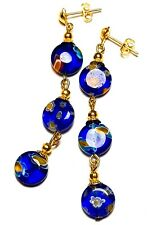 Very Long Gold Blue Millefiori Earrings Glass Bead Drop Dangle Pierced Stud