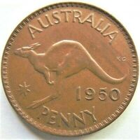 "1950 AUSTRALIA George VI,variety Penny long ""1"" in date grading EXTRA FINE."