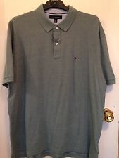 New Tommy Hilfiger 100% Cotton  Green/grey  Polo T Shirt Size 2XL