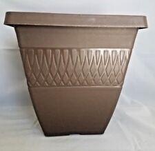 """9.75"""" SQUARE ZEN PLASTIC PLANTERS - Set of 5 Chocolate BROWN- pots flower"""