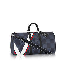 NEW LOUIS VUITTON Keepall 55 Bandouliere Damier Cobalt Canvas America's CUP