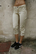 JECKERSON Capri Pantalon Crème Femme Pantalon Jeans Stretch W26 UK8 Cool