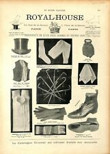 Catalogue réclame chapeau Gilet Cannes Souliers Royal-House à Paris GRAVURE 1897