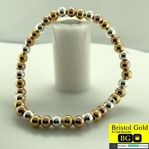925 STERLING SILVER ROUND BEADED STRETCH BRACELET - Fully Hallmarked & FREE P&P