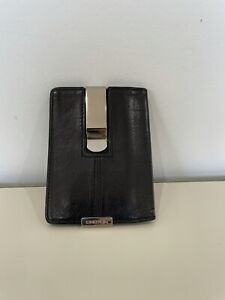 OROTON BLACK LEATHER CLIP WALLET