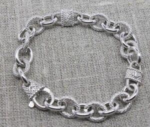 Judith Ripka Sterling Silver Bracelet,  Smooth & Textured Links, Basket Closure