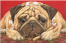 Poinsettia Pug Embossed Christmas Cards Box of 16