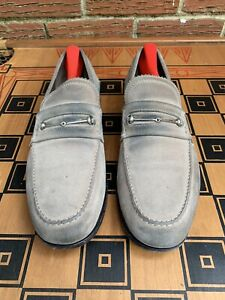 Gucci Men 8.5 M D US Horse Bit Loafers Suede Leather Grey Gray Italy Made