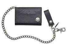 Harley-Davidson Skull Medallion Medium Tri-Fold Biker Wallet 19in Chain CORESM17