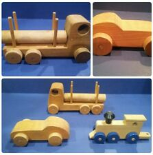Vintage Wooden Hand Carved Made Toys Train Car Lumber Truck Wheels Antique Lot