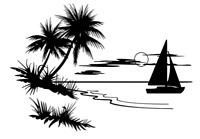 Die Cut Vinyl Decal Sailboat Ocean Scene Sea Beach Sailing Sun Sizes Car #1029
