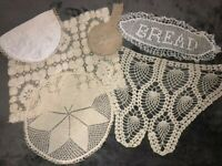 Vintage Antique Crocheted Doilies Lot of 6 Pcs Tea Stained Ecru Bread Granny