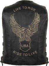 RIDE TO LIVE KUTTE Lederkutte Bikerweste Chopperweste Rockerweste Motorrad Weste