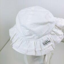 Vintage The Original Flap Happy Girls White double layer ruffle bonnet Hat Cap