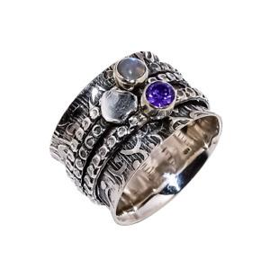 Labradorite, Amethyst Solid 925 Sterling Silver Wide Band Spinner Ring UK-10002