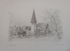 St. Oswald - Landschaftsbild mit Kirchenturm - Stich Bild signiert