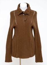 WOMENS BJ KNITS JUMPER ANGORA MERINO WOOL SWEATER BROWN SIZE L LARGE EXCELLENT