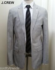 J.CREW Ludlow cotton linen blazer grey white stripe jacket sport coat 36S 36 S