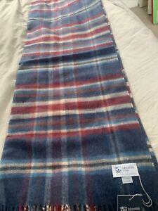 Johnstons of Elgin Multi Check Cashmere Wrap Shawl Pashmina Women Blue Maroon