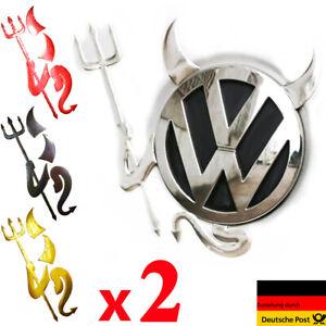 2x Auto Aufkleber Embleme Sticker 3D Teufel Devil Demon Silber Gold Rot chrome
