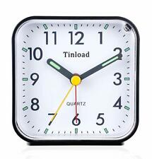 Travel Alarm Clock Non Ticking Analog with Snooze & Light Silent Ascending Beep