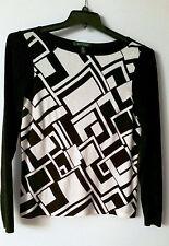 Ralph Lauren Color-Blocked Black/White Cotton/Blend Boat Neck Pullover Sweater L