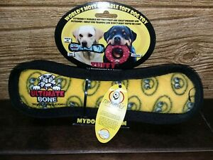 NEW Tuffy Ultimate Bone durable soft dog toy, floats, squeaks, washable