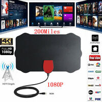1080P 4K Thin Freeview Indoor Digital TV Aerial HDTV Antenna 200 Mile Range