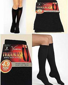 Womens Ladies Thermal Socks Insulated Winter Knee High School Socks 200D 4.9 Tog