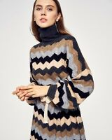 Multi color stripe soft knit oversized relaxed fit jumper dress balloon sleeves