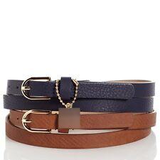 Nautica Women's Rope Embossed Charm Belt Tan/Navy Size Medium NWT