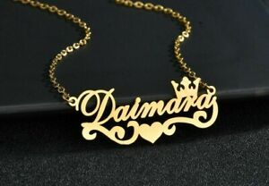 Personalized Name Necklace Stainless Steel Crown Heart Pendant Jewelry Custom